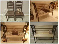 van 2 oude stoelen naar moderne bank met  rustieke antieke armleuningen.