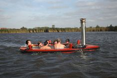 You've never seen a hot tub like this before – the HotTug is a a wood fired hot tub that also doubles as a motorized boat. You and six friends can take a leisurely cruise down the river while lounging in the 100 degree tub, or drop the anchor and float the day away with a few drinks.