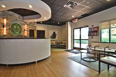 """Chiropractic office waiting room/reception area.....love this look. So warm & """"homey"""" looking :)"""