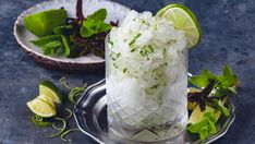 Mojito-granité Mojito, Granite, Fresh Rolls, Camembert Cheese, Dairy, Dessert, Ethnic Recipes, Food, Granite Counters