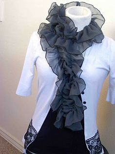 It's a fun and inexpensive scarf to make.  It can come together in no time with the help of a serger.