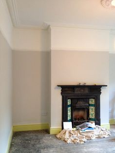 The painting has begun- bye bye circus colours! Walls are Farrow and ball Skimming Stone and ceilings are Wimborne White Farrow And Ball Living Room, Farrow And Ball Paint, Living Room Paint, Living Room Grey, Home Living Room, Farrow Ball, Bedroom Paint Colors, Wall Colors, House Colors