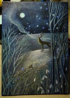 Lovely painting of stag and moon and woods. Whisper to the Old Moon - by Karen/Moonlight and Hares