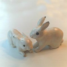 Two White Wash Wooden Bunnies by GoodWoodDogs on Etsy, $60.00