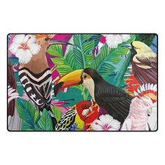 U LIFE Vintage Wild Animals World Tropical Forest Birds Floral Flowers Large Doormats Area Rug Runner Floor Mat Carpet for Entrance Way Living Room Bedroom Kitchen Office 31 x 20 Inch -- See this great product. (This is an affiliate link) Entrance Rug, Entrance Ways, Wild Animal World, Wild Animals, Tropical Forest, Area Rug Runners, Kitchen Office, Living Room Bedroom, Floor Mats