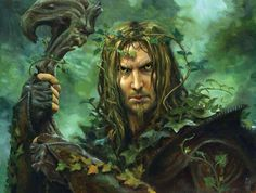 Green Man with staff In Celtic and Germanic lore, The Green Man was a potent figure of nature who safeguarded green and growing things. He also embodied the untamed power of nature in it's masculine form.