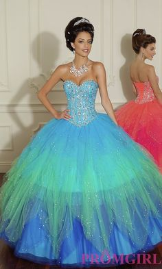Beaded tulle Quinceanera dress with multi-colored aqua teal blue skirt and sweetheart neck. by Mori Lee - Dress Style: ML-88006