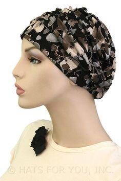 $19.50 - Grey Pearls Shirred Cap     #cancer #chemo #alopecia #hair loss