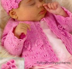 PDF Knitting Pattern - Baby Girls & Childs Posy Cardigans Hat and Shoe Set…