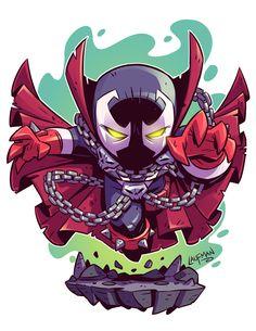 Chibi Spawn by Derek Laufman Chibi Superhero, Chibi Marvel, Marvel Art, Marvel Dc Comics, Comic Character, Character Design, Super Anime, Marvel Cartoons, Marvel Drawings