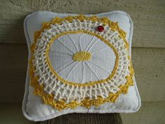 Handmade Sunflower and Lady Bug Mini Pillow or by LRFoxDesign, $9.99
