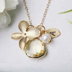 Orchid Flower,Stone in bezel,Bridesmaid gifts,Flower girl,flower jewelry,Gold leaf initial necklace,Pearl,Wedding,Monogram
