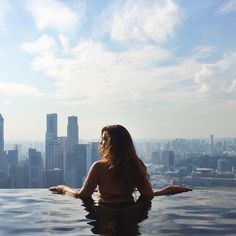 Infinity pool at Marina Bay Sands in Singapore. It was such a cool experience!! Worth it! wanderlust europe photography beautiful adventure mountain explore inspiration tips landscape van life road trip life tent camping outdoors santorini greece