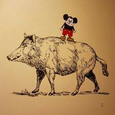 """Pig & mouse"" / Acrylic on canvas / 2014"