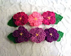 Purple  or Fushia Flower Barrette by angelsandcrafts on Etsy, $5.00