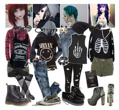 """Grunge style :)"" by indie-psycho ❤ liked on Polyvore featuring art, grunge, dr. martens, nirvana, piercings, jeans, shirt, converse, creepers and jack daniels"