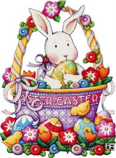 Mary Engelbreit Bunny in a Basket Easter Card Mary Engelbreit, Decoupage, Hoppy Easter, Easter Bunny, Easter Eggs, Ostern Wallpaper, Easter Illustration, Easter Parade, Gifs