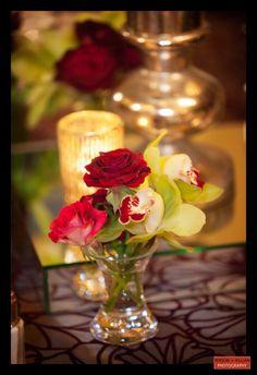 Boston Wedding Photography, Boston Event Photography, Winston Flowers, Wedding Flowers, Small Floral Centerpiece, Red and Green Centerpiece, Rose Centerpiece