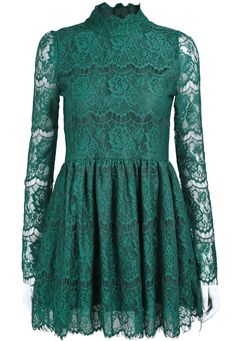 Green Stand Collar Long Sleeve Lace Pleated Dress US$34.10