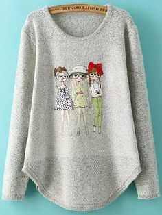 Grey Round Neck Girls Print Knit Sweater