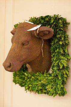 Rusted Cow Head Sculpture | Boxwood Wreath~The Lettered Cottage