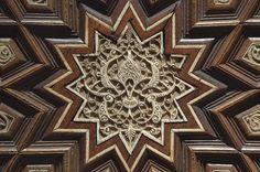 Geometrical pattern of stars and interlaced...in Museum of Islamic Art. Doha, Qatar