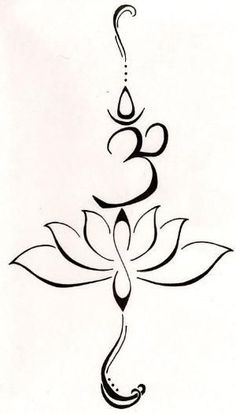 "A lotus to represent a new beginning, or going through a struggle and emerging from that struggle and becoming a symbol of strength. The symbol ""Om"" from the Buddhist mantra to stand for love, kindness and protection...this symbolism is also said to purify hatred and anger. by sharonsparkles:"