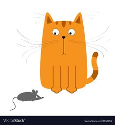Cute red orange cartoon cat looking at mouse Big vector image on VectorStock