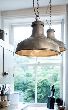 Pendant lights for the kitchen and dining room Hang pairs of Factorylux Galvanised over a or for an old-school look, ideal for both and schemes.Hang pairs of Factorylux Galvanised over a or for an old-school look, ideal for both and schemes. Lighting, Cool Lighting, Industrial Pendant Lights, Industrial Lighting, Lighting Design, Industrial Kitchen Lighting, Lights, Interior Design, Industrial Kitchen