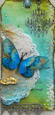 Beautiful Blue Butterfly tag :)