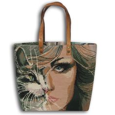 A French Tapestry Purse, Canvas Tote Bag Cat Women Le Sephora (235 QAR) ❤ liked on Polyvore featuring bags, handbags, tote bags, tote purses, canvas shopping tote, shopping bag, cat tote and vintage purses
