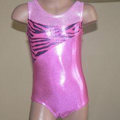 Gymnastics Dance Leotard Pink with zebra print Size by SENDesigne