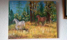 Caballos salvajes. Óleo pintado en 2011.