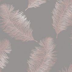 home wallpaper Fawning Feather Wallpaper Rose Gold / Grey Holden 12629 Gold Effect Wallpaper, Rose Gold Bedroom Wallpaper, Grey And Gold Wallpaper, Rose Gold And Grey Bedroom, Hallway Wallpaper, Feather Wallpaper, Wallpaper Uk, Living Room Wallpaper, Bedroom Decor Wallpaper