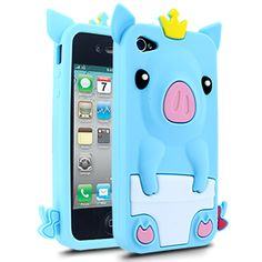 Barnimals Collection Royal Bacon Silicone Case for Apple iPhone 4/4S - Light Blue