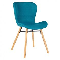 The Etta teal blue fabric upholstered dining chair with solid oak legs has a slightly scooped seat with a curved back and rounded edges for comfort. Buy now at Habitat UK. Folding Dining Chairs, Old Chairs, Leather Dining Chairs, Dining Table Chairs, Upholstered Dining Chairs, Pink Chairs, Office Chair Makeover, Dark Blue Living Room, Ashley Furniture Chairs