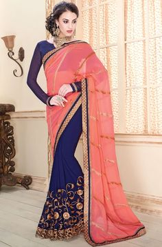 Decorous Peacock Blue and Coral Pink Saree