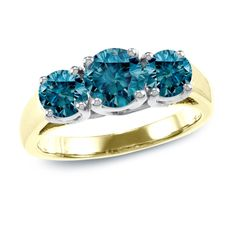 Auriya 14k Gold 2ct TDW Blue Round Diamond Three-stone Ring (I1-I2) ( Gold - Size ), Women's