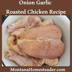 Yesterday I cooked up an Onion Garlic Roasted Chicken and it is so delicious I just had to share it with you! This recipe is now my favorite way to prepare Roast Chicken Recipes, Roasted Chicken, Baked Chicken, Turkey Recipes, Side Dish Recipes, Dinner Recipes, Paleo Dinner, Dinner Ideas, Real Food Recipes