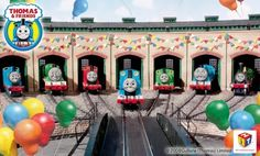 The Engines at Tidmouth Sheds - I am totally building this for Joshua's party :)