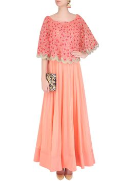Peach pleated anarkali set with floral embroidered cape available only at Pernia's Pop Up Shop.