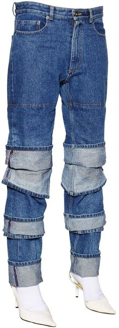 Y/Project Layered Cuffs Cotton Denim Jeans
