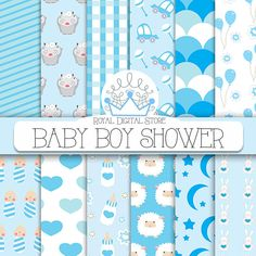 Baby Boy Digital Paper: 'Baby Boy Shower' with baby boy, car, hippo, sheep, balloons, flowers, bunny, stars, for scrapbooking, cards