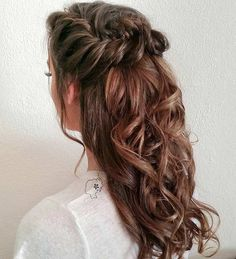 Very into this curly, fishtail braid half-updo for mghairandmakeup.com bridesmaids!  #repin #inspiration #love