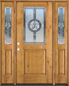 Half Lite Star Knotty Alder Wood Door Unit with Sidelites #40 & Rustic knotty alder wood door perfectly compliment the texas star ...
