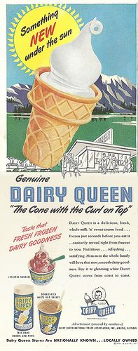 1950 Dairy Queen ad featuring a classic vanilla soft serve ice cream cone.