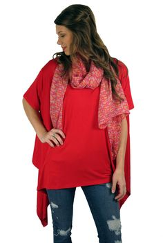 Red-dy to Roll tunic- Red #2015 #dress #fashion #layers #popular #red #spring #summer #tunic