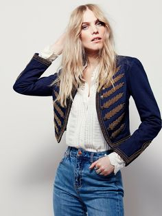 Embellished Band Jacket | Military inspired cropped jacket, in a structured silhouette, featuring exposed button detailing and allover statement beading.