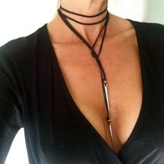 Black Choker Silver Spike Leather Choker Lariat Tie Necklace Boho Leather Lariat Gift for Her Under 20 Long Modern Minimalist Bullet Dagger