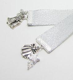 Silver Bells Ribbon Bookmark Christmas by WhispySnowAngel on Etsy, $8.00